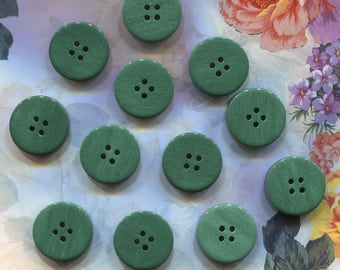 Set of 12 Large Dark Green Plastic Buttons-(7/8 inch)-Item# 33