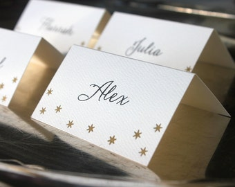 Letterpress Place Cards with Gold Stars