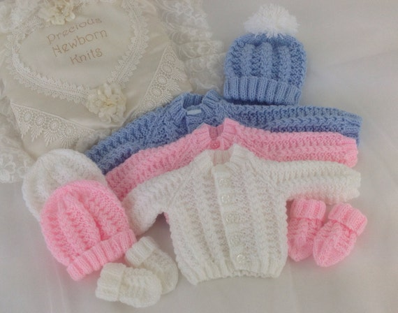 Baby Boy Knitted Hat And Mittens