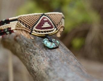 Handmade tribal choker Macrame Necklace with Turquoise stone,inca- tribal style, wild jewelry, spiritual, ethnic