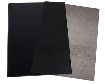 Set of 3 sheets of shrink plastic 29 x 20 cm - black