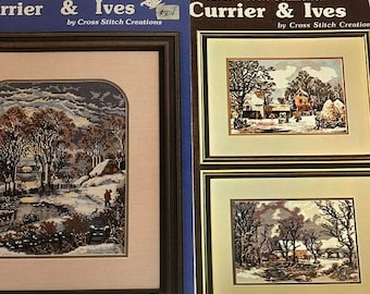 MAYniaSALE Vintage 1983 Set of Two Currier & Ives, An Heirloom Collection, The Esmark Collection, Counted Cross Stitch Pattern Booklets
