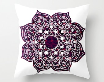 Purple Mandala Throw Cushion Pillow Case. Watercolor Mandala. Turquoise and White. 40 cm. 45 cm. 50 cm. PNP01