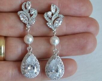 Bridal Cubic Zirconia Crystal Stud Earrings, Swarovski Pearls, Silver Rose Gold Drop, Wedding Jewelry, Maya - Ships in 1-3 Business Days