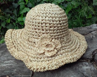 Boho Floppy Crocheted Straw Hat with Flower