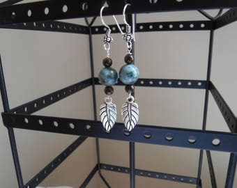 African Turquoise and Bronzite Earrings