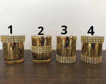 SALE 48 or 60 Gorgeous Rhinestone Mercury Glass Gold Votive Candle Holder  2.5 H Speckled Gold votives   Bulk  Weddings, Parties  Home Decor