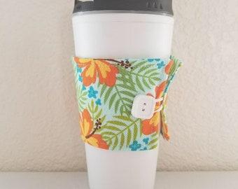 Coffee Cozy  -  Orange and Yellow Hawaiian Flowers  (0800)