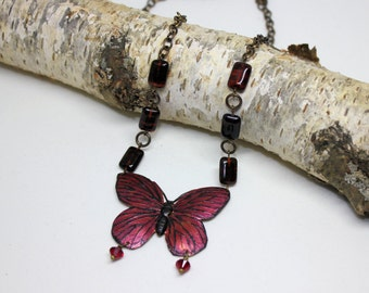 Butterfly Jewelry- Spring Jewelry - Burgundy Hand Colored Brass Butterfly Necklace - Handmade Jewelry, Summer Jewelry, Butterfly Pendant
