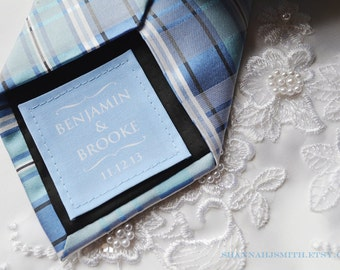 Something Blue • Personalized Groom Tie Patch • Small Wedding Dress Label • 2nd Anniversary Gift •Cotton Anniversary Gift