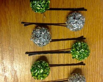Beard Art Baubles Glitter Bow Baubles Christmas Hipster Gift Set of 6 Baubles