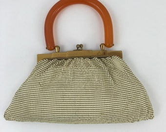 Vintage Whiting and Davis Ivory Enamel Mesh Purse with Bakelite Handle/1940s Whiting and Davis Bag