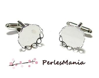 2 support cufflinks wave 31920 platinum silver 14 mm ID