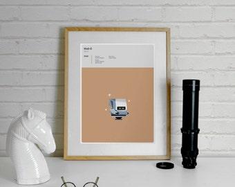 Wall-E Print 'MO' inspired Disney Pixar - A4 Disney Print, Pixar Poster, Movie Poster, Illustration, Art Prints, Minimalist Movie, minimal