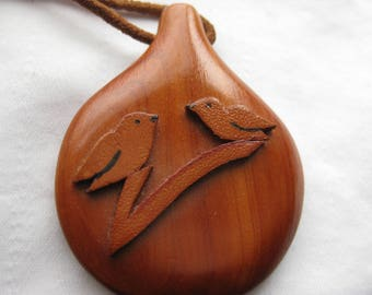 Wood and Suede Organic Pendant Birds on a Branch