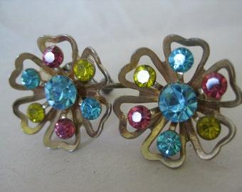 Flower Blue Pink Yellow Rhinestone Earrings Screw Gold Vintage