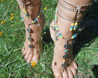 Crochet Barefoot Sandals Beach Wedding  Yoga Shoes Foot Jewelry  Blue Yellow Silver
