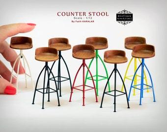 Miniature Counter stool, Wooden Rotating bar revolving stool  industrial dollhouse kitchen modern Mid Century furniture artisan  1:12 scale