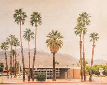 Palm Springs, 'Boxing Club' Limited Edition Fine Art Photography, Image Transfer on Wood Panel by Patrick Lajoie, midcentury modern, desert