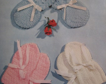 Baby Knitting PDF Patterns, 1960's 3 Vintage Patterns Baby Knitted Mittens 6139