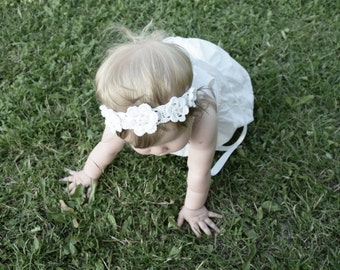 Baby Girl Flower Crown, White Flower Girl Crown, Newborn Headband, Christening Headband, Flower Girl Headband, Baptism Headband Floral Crown