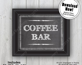Chalkboard Sign - COFFEE BAR Wedding Drink Sign - Printable Wedding Sign- 5x7 - 8x10 -Black White Chalkboard Drink Sign - Bridal Shower Sign