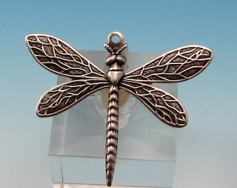 Dragonfly Charm, Antique Silver, 2 Pc. AS74-2