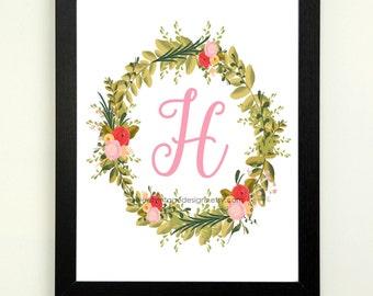 Letter H Printable, 8x10 Instant Download, Baby Girl Nursery Art, Nursery Decor, Floral Monogram, Letter Art, Baby Gift, Baby Shower Gift