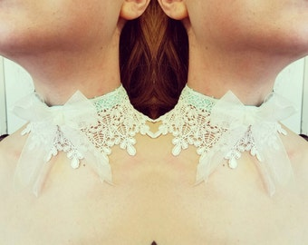 """Lace Bow Choker - Marie Antoinette Rococo Ribbon No Metal Necklace - Victorian Steampunk- Pink, Blue or Mint """"Rococo Bow Choker"""""""