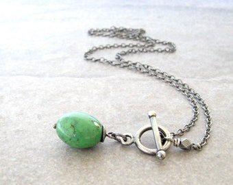 turquoise and silver pendant necklace, rustic oxidized necklace, green turquoise necklace, green stone pendant