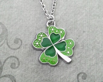 Clover Necklace Four Leaf Clover Jewelry Good Luck Gift Green Clover Charm Necklace Clover Pendant Necklace St. Patrick's Day Jewelry Irish