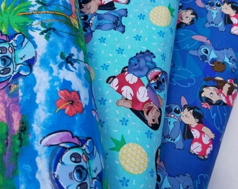 Disney Blue Lilo and Stitch Cotton Fabric - O'Hana Means Family, Hawaiian Nights, Friends Forever