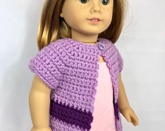 """18"""" Pull poupée, gilet de poupée violette, veste au crochet fait main, pull de printemps, vêtements d'été, vêtements de poupée de 18 pouces, lavande"""