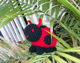 Red Crochet Amigurumi Ladybug Toy, Plush Ladybug, Ladybird Stuffie, Stuffed Animal Red Ladybug, Gift for Kids, Baby Gift. Ready-to-Ship