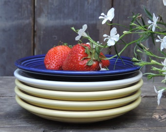 FIESTA HLC Saucers Set of 5 in Blue, White and 3 Yellow Saucers Bread Butter Plates, Dessert Plates
