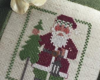 Santa Pillow Vintage Primitive Green Velvet Ticking Cross Stitch Checks Millinery Florals Primitive Rustic St Nick Christmas Decoration