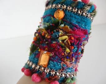 felted turquoise Bohemian style bracelet cuff