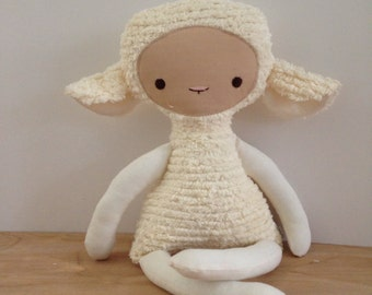 Cream Chenille Lovey Lamb
