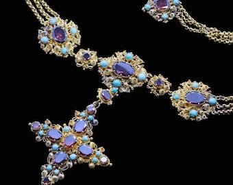 Late Georgian Necklace Pendant Cross Cannetille 18k Gold Turquoise Garnet (#6425)