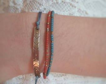 Perlen Armband. Bohoarmband. Türkis-Armband. Koralle Armband. Strand Schmuck. Pura Vida-Armband.