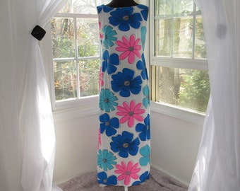 1950s Cotton Dress, Large Flower Print, Blues and Pinks, Gregg Draddy, One of a Kind
