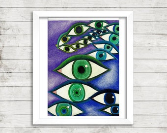 Eye Art, Colored Pencil Drawing, Trippy Art, Psychedelic Art, Print