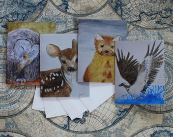"""Assorted Watercolor Notecard Set of 40 - 5.5""""x4"""""""