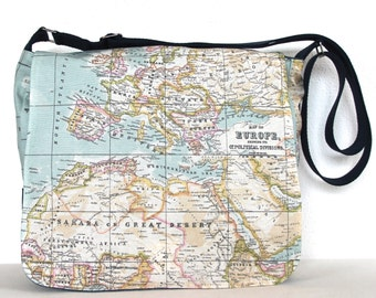 "Retro Old Map Print Cross Body Travel Bag Messenger Bag Shoulder Bag Work Bag 13"" Laptop Bag Showerproof Messenger Bag"