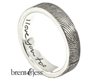 personalized ring I love you too... 5mm exterior wrap with handwritten detail
