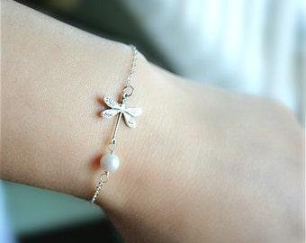 Silver Dragonfly Bracelet, Personalized Birthstone -Pearl with Dragonfly Bracelet, Dragonfly Charm Bracelet