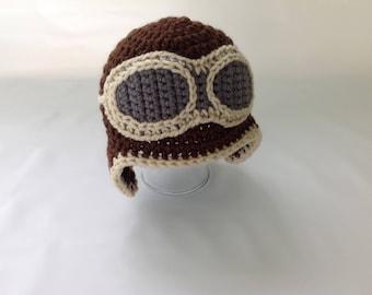 Baby Aviator Hat - Crochet Aviator Hat - Baby Pilot Cap - Baby Pilot Hat - Pilot Hat - Aviator Goggles - Aviator Hat - Infant Aviator Hat