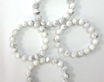 Magnesite Beads Bracelet, Beads Bracelet, White Bracelet