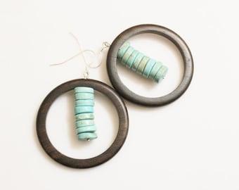 African Inspired Wood and Turquoise Earrings, Wood Statement Earrings, Tribal Earrings