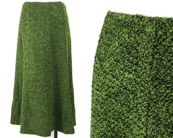 "1970s Moss Green Boucle Midi Trumpet Skirt 29"" Waist by Acorn"